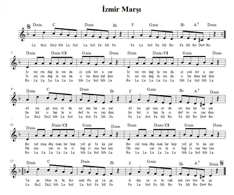 izmir-marsi-notalari