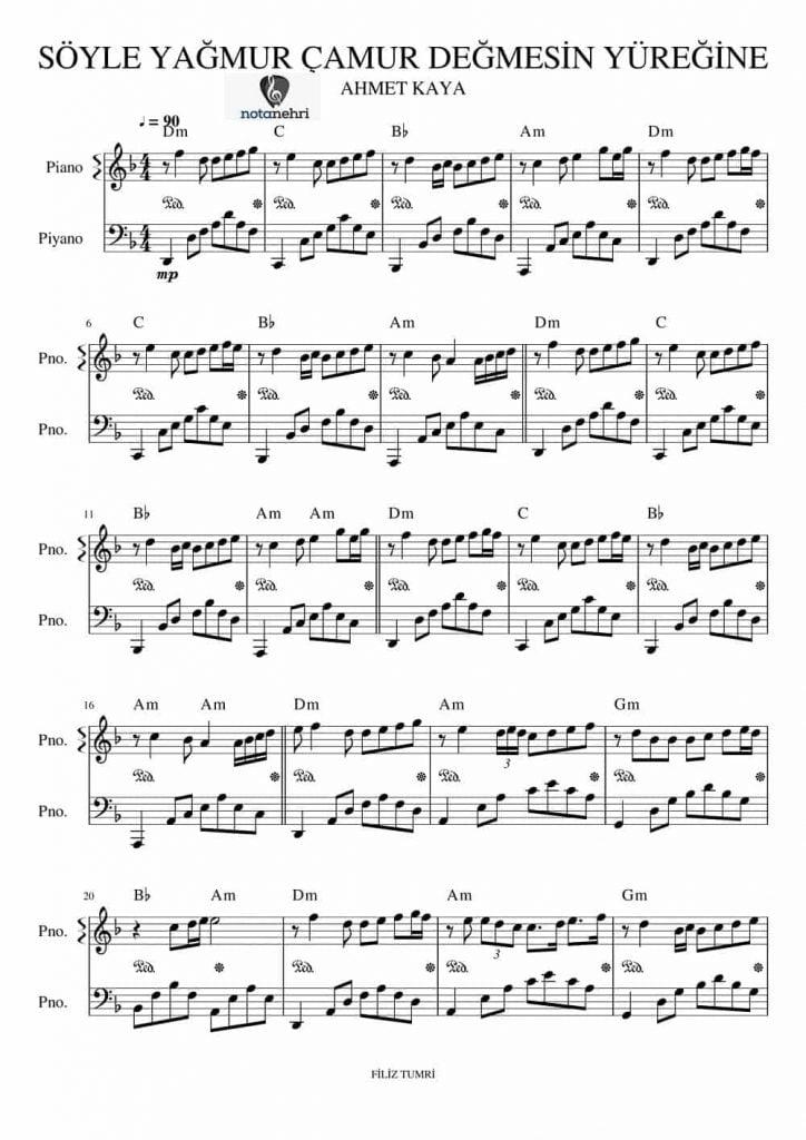 ahmet kaya söyle parcasi piyano notasi