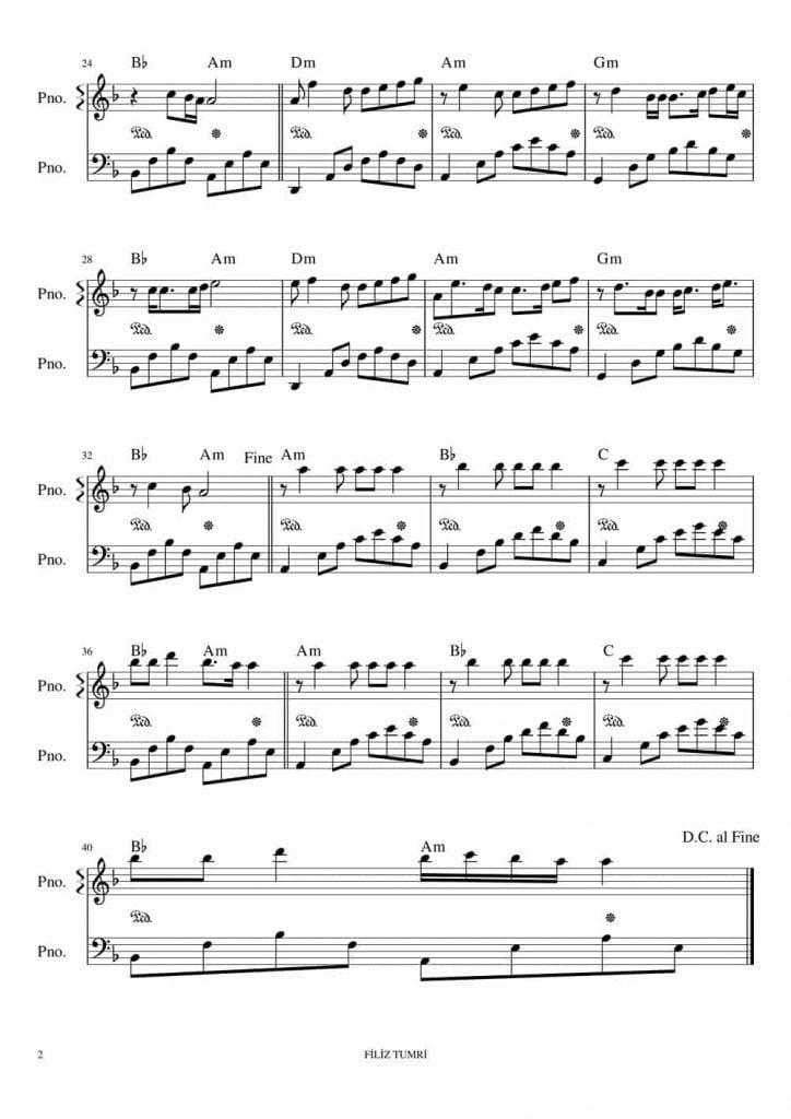 soyle piyano nota