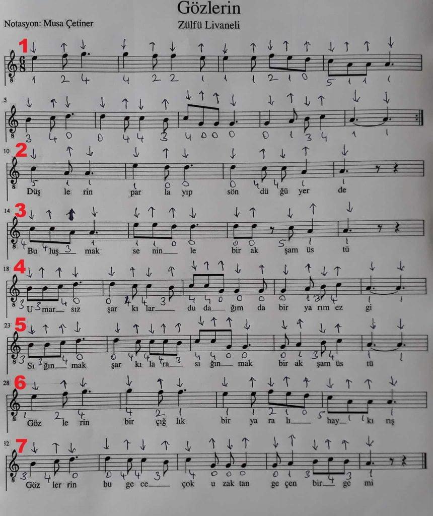 Zulfu Livaneli Den Severek Dinlenen 3 Eser Notasi Nota Nehri
